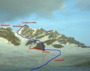 Übersicht unserer Route über den Südostgrat auf die Jungfrau