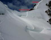 Jungfrau - detaillierter Routenverlauf im oberen Bereich