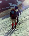 Aufstieg über das Firnfeld zur eigentlichen Nordflanke des Lodner