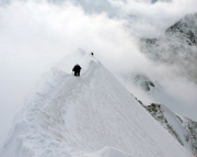 Auf dem Gipfelgrat des Mönchs nach Ersteigung über den Ostsüdostgrat