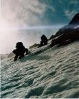 Kurz vor dem Felsriegel ungesichert in beeindruckender Steilheit