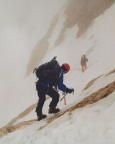 Abstieg auf einer Alternativroute, hier queren wir zurück in die Nordwand