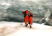 Pitztaler Eisarena, toprope Klettern in einer Gletscherspalte