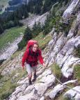 Thomas in der ausgesetzten gut gesicherten Steiganlage Richtung Hütte