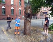 Unterwegs in Finsterwalde - an dieser Pumpe soll ein Geocache sein? Ja!