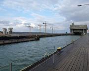 Geocaching auf der oberen Ebene des Schiffshebewerkes in Niederfinow