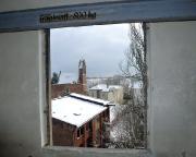 Blick vom Zustieg zum Fahrstuhlmotor in Richtung Katholischer Kirche