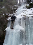 Auf dem ersten Absatz am Eisfall im nördlichen Uttewalder Grund