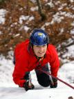 Bielatal, hintere steile Eisfälle, Elke Krönert in Aktion