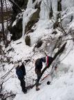 Eisklettern am Massiv bei Hohnstein, Polenztal
