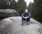 Ralf auf dem Gipfel der Heidewand, er hat die Jahreserste vorgestiegen