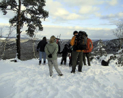 Aussichtspunkt am Unteren Fremdenweg mit Blick in den verschneiten Kleinen Zschand