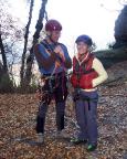 Der Klettertag am Pfaffenstein kann beginnen, Thomas und Kletterlehrling Ines