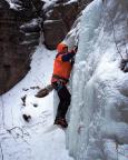 Wiese bei seinen ersten gekletterten Metern im Bielatal-Eis