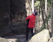 Bevor die Tour beginnt, werden Gipfel und Weg, hier die Stumpfe Keule, genau inspiziert