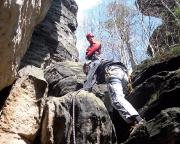 Zustieg zur Kletterei am Fledermausturm im Bielatal
