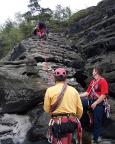 Es folgt richtiges Klettern – hier an der Wetterwarte im Wehlener Gebiet