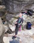 Volker sichert Wiese beim Vorstieg des Alten Weges II am Lochturm