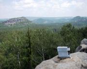 Blick vom Gipfel der Wartburg zum Wiildenstein, auch Kuhstall genannt