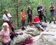 Ausflug der Geburtstagsgesellschaft zum Klettern an der Nonne - Wegbegutachtung