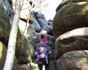 Zustieg zum Götze in den Schrammsteinen nahe der Schrammsteinbaude