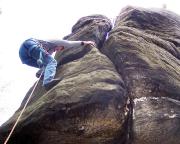 Auch diese deutlich schwerere Kletterei meistert Christina mit Bravour