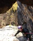 Im Ausstieg der Südostverschneidung, VIIa, an der Stumpfen Keule im Bielatal