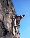 Jens im Gipfelaufschwung des Kanzelturms - überlegtes Vorsteigen!