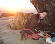 Am Abend wird es wieder klirrend kalt - einpacken bei Sonnenuntergang