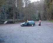 Das erlebt man selten, auf einem leeren Parkplatz an der Neumannmühle