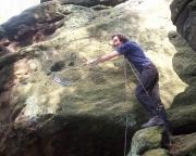Vorbereitung zur Begehung des Alten Weges IV am Dreikanter, einem Gipfel am Quirl