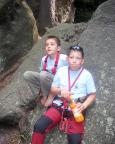 Freddy und Max vor ihrer Besteigung des Frosch in den Nikolsdorfer Wänden