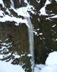 Die Eissäule an der Teufelskammer im Uttewalder Grund, ausreichend hoch und herrlich steil.