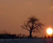 Tagesausklng mit irrem Sonnenuntergang bei der Rückkehr auf den Parkplatz in Uttewalde