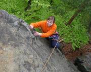 Christina Klitzke an der Eisenspitze, einer echten Genusskletterei.