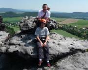 Christiane hat es gewagt - hier auf dem Gipfel des Papstes, mit Bergführer Volker ;-)