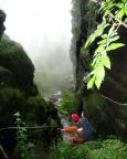 Nein, wir sind nicht im tropischen regenwald - wir sind im Abstieg vom Pfaffenstein durch das Nadelöhr