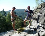 Torsten und Thomas am Einstieg der Emporkante des Hirschgrundkegels