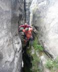 Peter und Wiese auf den ersten Metern des Alten Weges am Mittleren Torstein