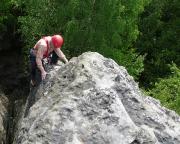 Klettern im Bielatal  Peter Balke im Alten Weg, I, am Wegelagerer