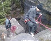 Klettern in den Tisaer Wänden - Merkwürdige Abseile vom Dicken Bürgermeister