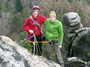 Thomas und Steffen Kobbe am Ausstieg des Alten Weges am Keilerturm