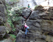 Saugrundspitze, Alter Weg, Christina Klitzke im Nachstieg