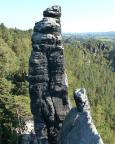 Blick vom Gipfel  Lokomotive-Dom auf Kesselgrat, Pfeife und Esse und damit auf den berühmten Überfall