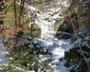 Einstieg zum Wildschützensteig. Eigentlich sollte es hier hinauf gehen, aber der Einstieg war ein Eisfall, das haben wir dann lieber sein lassen.