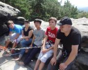 Auf dem Gipfel der Narrenkappe - zwei alte und drei neue Gipfelstürmer, Max, Susi, Moto, Freddy und Daniel