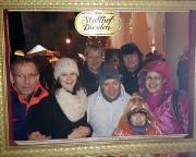 Auf dem mittelalterlichen Weihnachtsmarkt in Dresden, leider im strömenden Regen