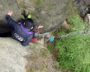 Eine besondere Herausforderung - statt Abseilens abklettern über die Aufstiegsroute.