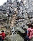 An der Löschnerwand des Daxensteins im Bielatal, eine Nummer zu groß für Almuth