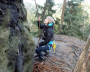 Nicht nur das Klettern, auch die Talfahrt haben bei Almuth auf Anhieb geklappt, supi!